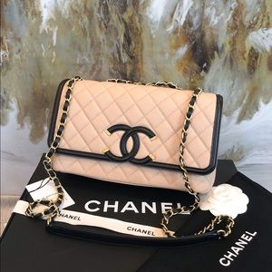 Chanel Medium Two Tone Filigree Caviar Flap Bag